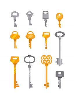 銀と金色の鍵のセット