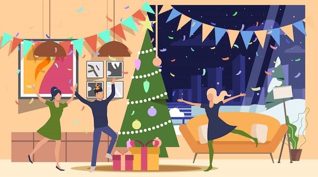 Друзья празднуют новогоднюю иллюстрацию