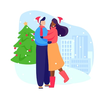 Счастливая пара празднует новый год