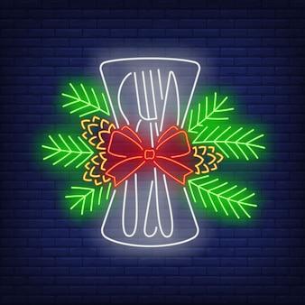 Рождественская посуда неоновая вывеска
