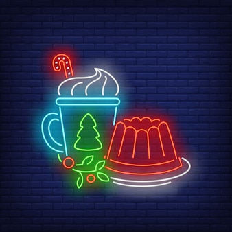 Рождественское желе и напиток неоновая вывеска