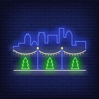 Уличное новогоднее украшение неоновая вывеска