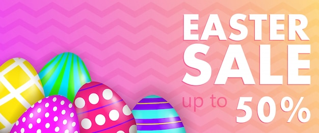 Пасхальная распродажа, до пятидесяти процентов надписи с разукрашенными яйцами