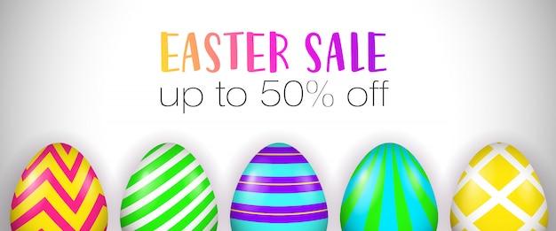 Пасхальная распродажа, до пятидесяти процентов от надписи, украшенные яйца