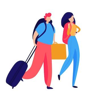 荷物を運ぶ乗客
