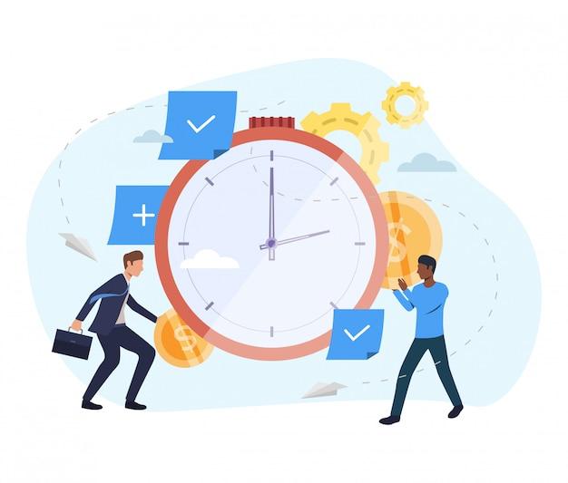 時計の図にお金を投資する人々