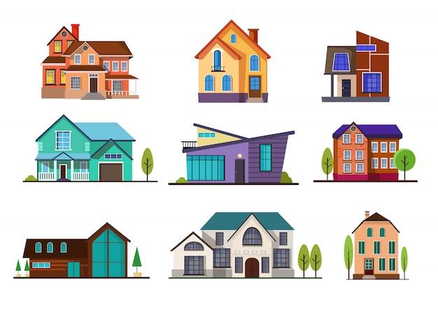 Набор современных коттеджных домиков