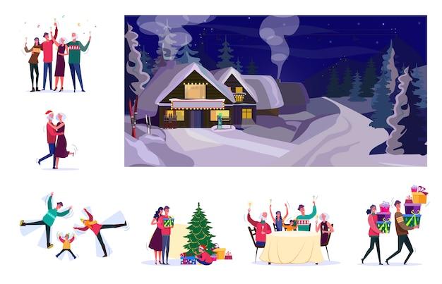 Набор людей, празднующих рождество