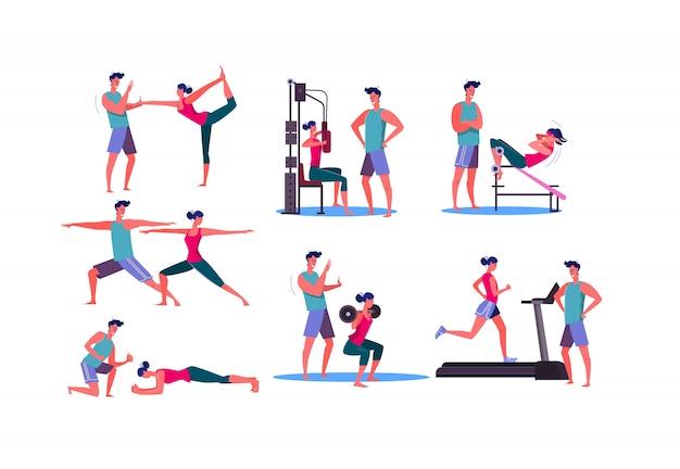 ジムでトレーニングスポーティな女性のセット
