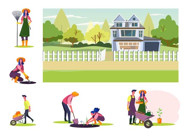 Набор молодых людей, работающих в саду