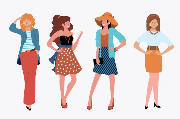 Набор стильных девушек на природе