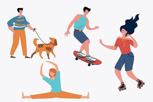 Молодые люди делают фитнес