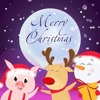 メリークリスマスのチラシ。うれしそうなトナカイ、雪だるま