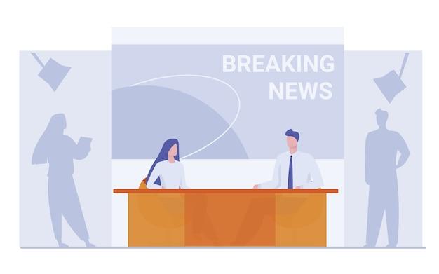 ニュース速報の背景にあるニュースアンカー