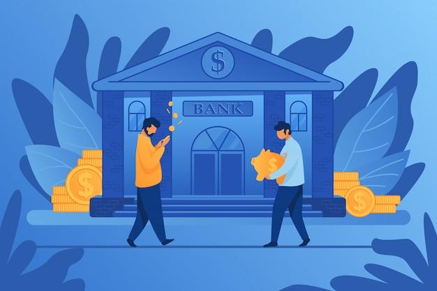 銀行の建物の近くの人々