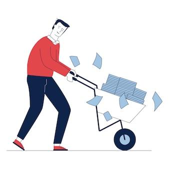 Грустный сотрудник катит тележку с бумагами