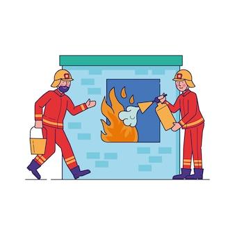 Пожарные тушат пламя через окно