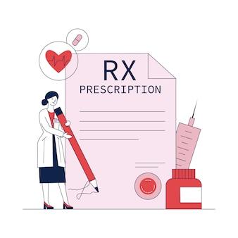 Фармацевт, подписание рецепта лекарства плоский векторная иллюстрация