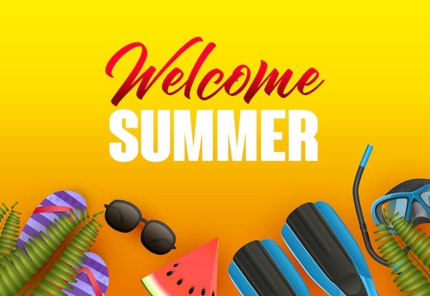 Добро пожаловать летом яркий дизайн плаката. арбуз
