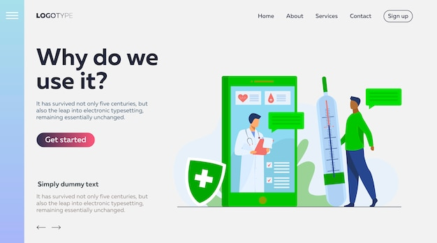 スマートフォンのランディングページテンプレートによるオンライン医師相談