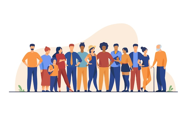 Разнообразная толпа людей разных возрастов и рас