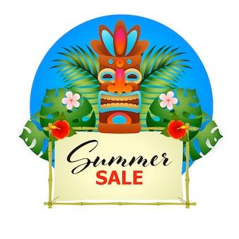 夏のセールのポスター。ティキ部族木製マスク