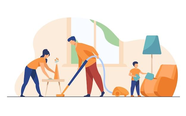 Счастливая семья, уборка вместе плоской иллюстрации