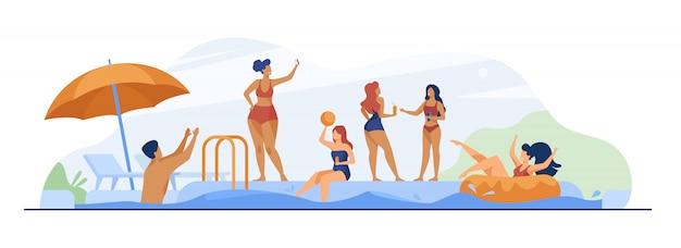 スイミングプールパーティーを楽しんで幸せな人々