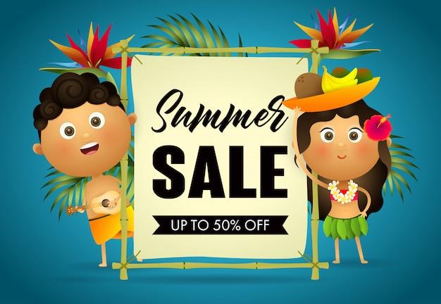 夏のセールの小売りのポスター。漫画ハワイアン男と女