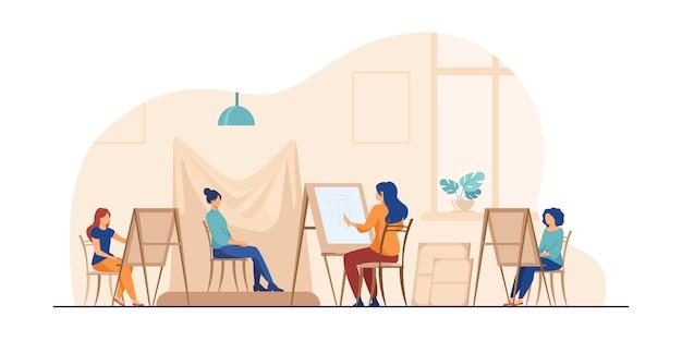Модель позирует для художественной мастерской