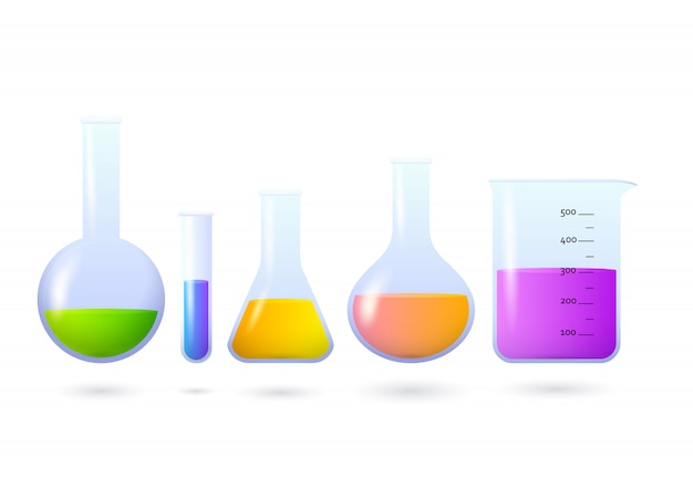 化学薬品セットが付いているビーカーそしてフラスコ