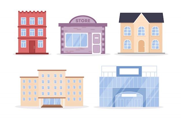 Набор городских зданий