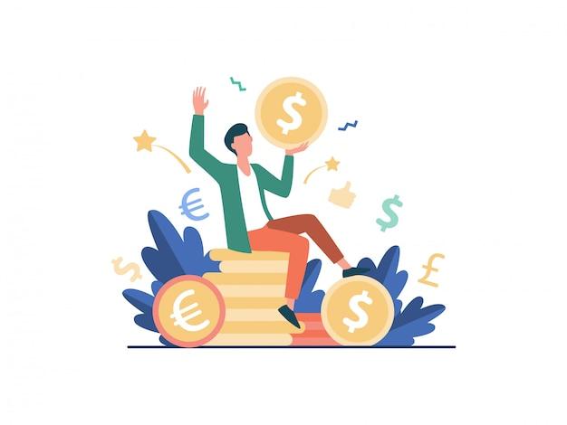 お金のイラストを稼ぐ幸せなビジネスマン