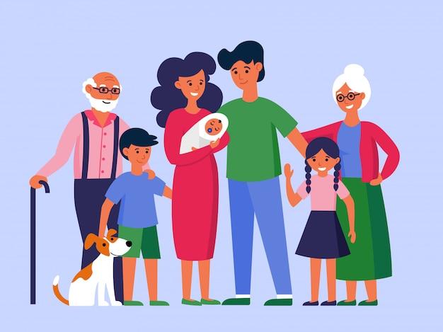 Счастливая огромная семья стоит вместе