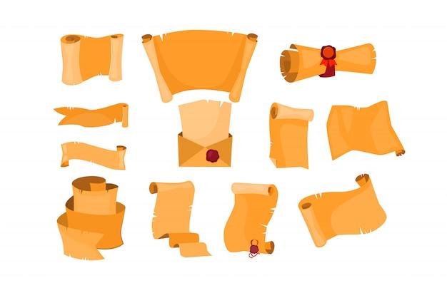 Набор старых бумажных свитков