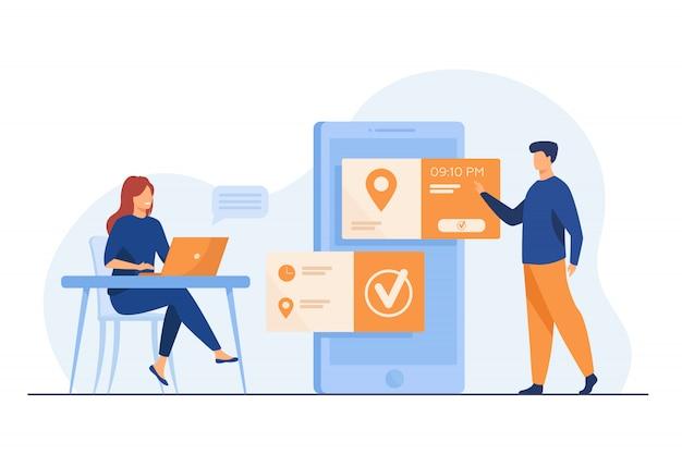 Люди, использующие онлайн назначение и бронирование приложения