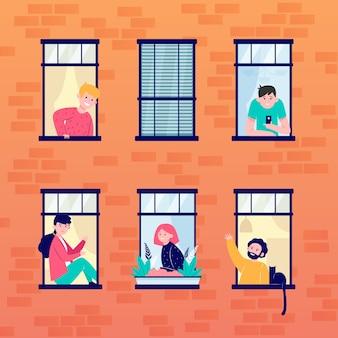 アパートの開いている窓と隣人