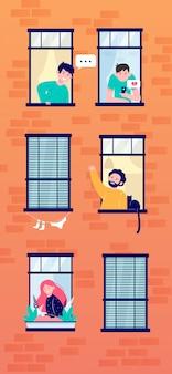 フレンドリーな隣人とアパートのオープンウィンドウ