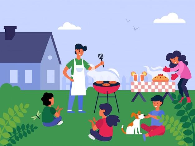 Семейная вечеринка барбекю