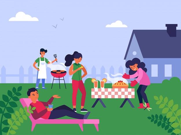 郊外の家で週末を楽しんでいる家族
