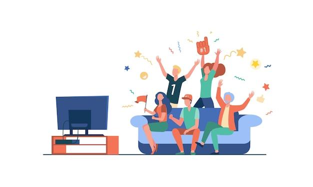 テレビで試合を見ているフットボールのファン