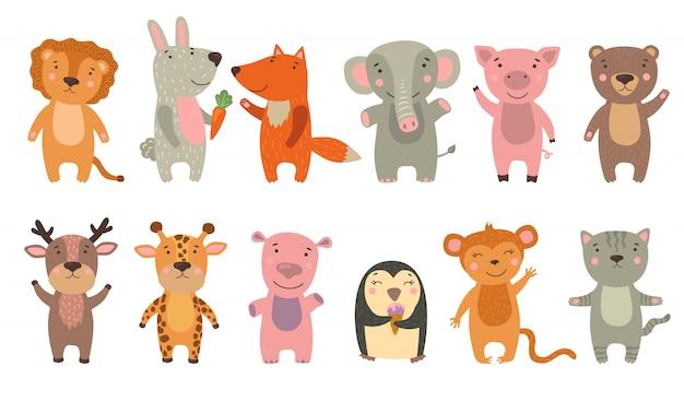 Набор веселых забавных мультипликационных животных