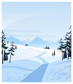 雪に覆われた道とモミの木の田園風景