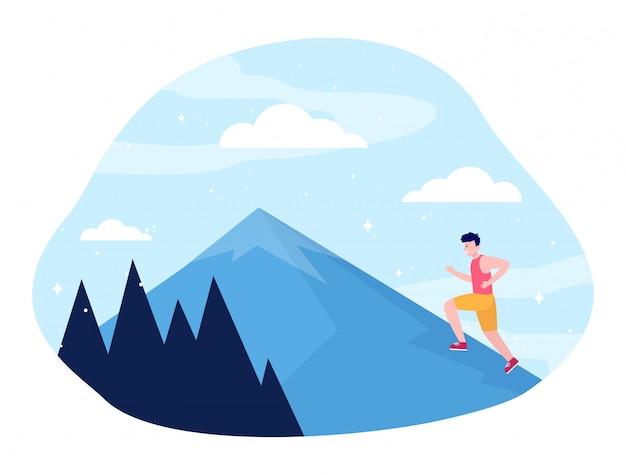 山に登る若い男