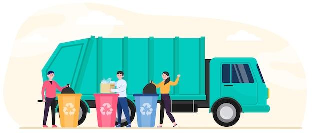 Мультяшные люди выбрасывают мусор и мусор