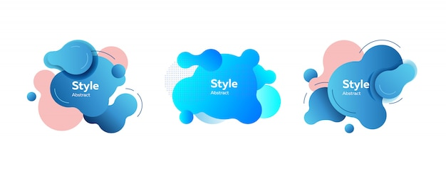 青い不規則な抽象的な要素セット