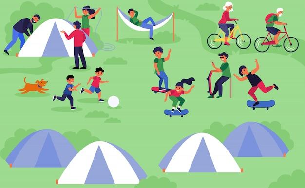 テントでキャンプする家族