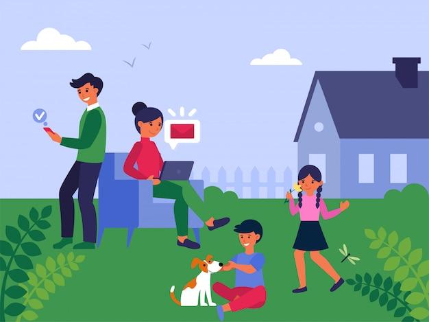 庭で一緒に余暇を過ごす家族