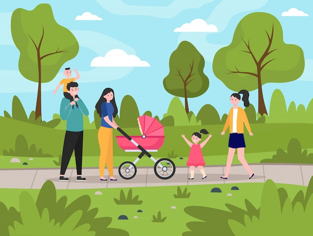 都市公園を歩いて子供たちと幸せな家族
