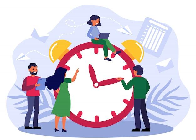 目覚まし時計を調整する幸せな人々